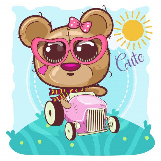 Cute Cartoon Bear Girl Goes On A Car Vector Bear Cartoon Cute