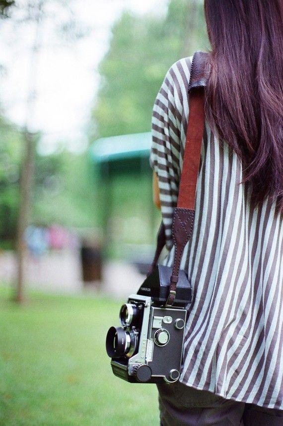 Handmade leather camera strap. Etsy.