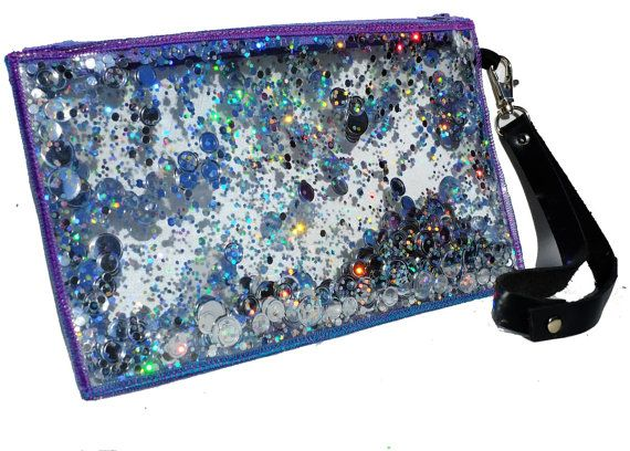 Holographic Clutch, Glitter Bag, Wristlet, Sparkly Purse in Galaxy on Etsy, $24.00