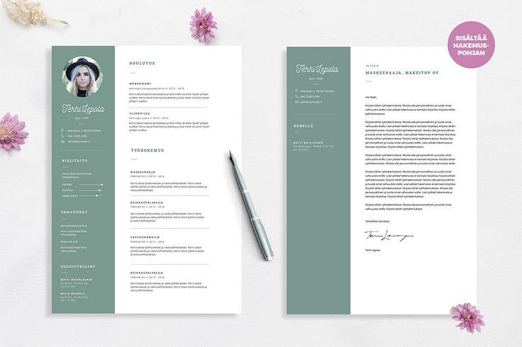Terhi on näyttävä CV pohja Word ohjelmalle.