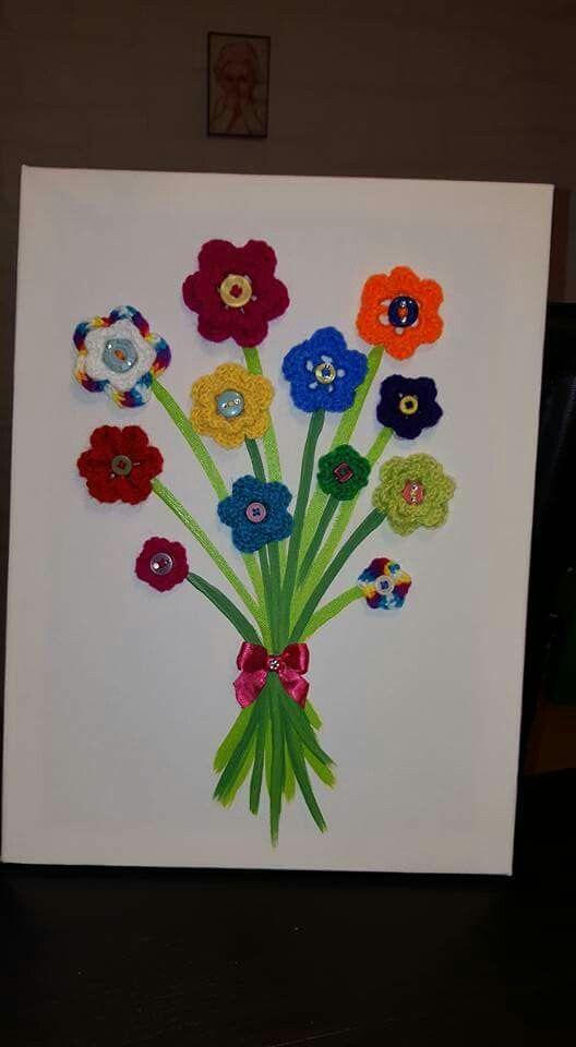 tableau relief crochet fleurs tableaux pinterest crochet. Black Bedroom Furniture Sets. Home Design Ideas