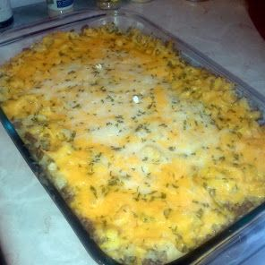 Hamburger Casserole = Made this for my husband yesterday - I added cheese and Dried Onions on top - it was fabulous - definitely a make again.