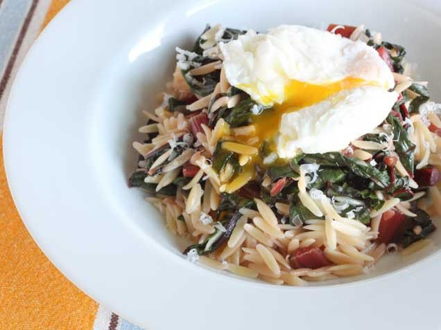 Creamy Orzo with Swiss Chard and Poached Eggs | Recipe