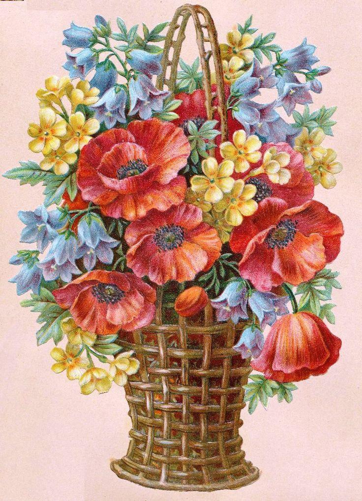 Корзинка с цветами картинки нарисованные, днем