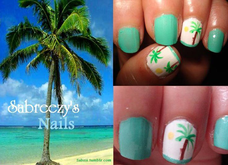 beaches and fish nail disigns   ... nails palm tree nails summer blue nails green nails teal nail designs
