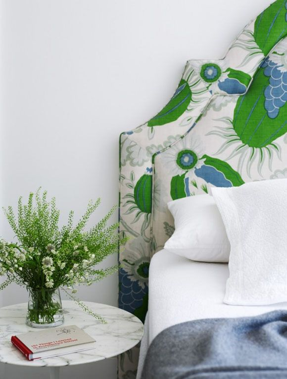 Bedroom Bliss. A fabric headboard that says summer. Interior Design by Arent & Pyke.
