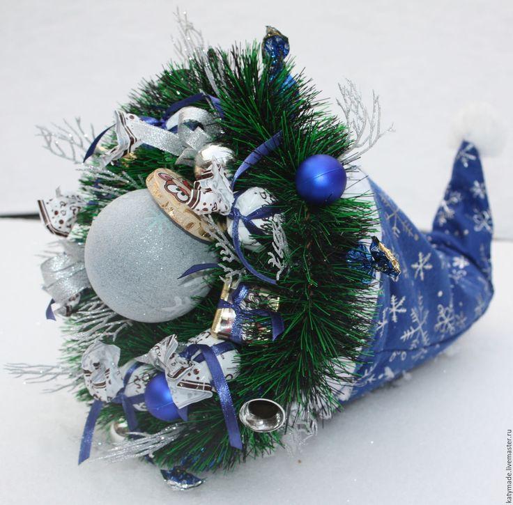 Купить Синий новогодний колпак Деда Мороза - синий, новогодний колпак, колпак Санты