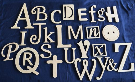 Wooden Alphabet Letters Set, Wall Hanging, Nursery Decor, Alphabet Wall, ABC Wall, Mixed, Unfinished letters- DISCOUNTED PRICE. $80.00, via Etsy.
