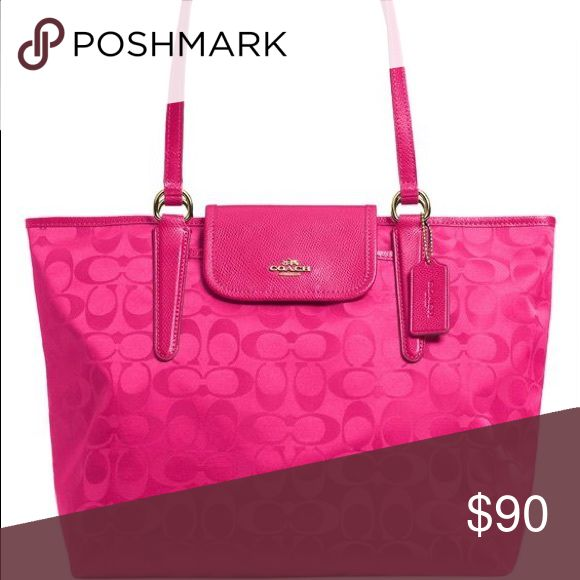 Beautiful Coach purse Pink, nylon Coach purse/tote. Excellent condition. Only used a few times. Coach Bags Shoulder Bags