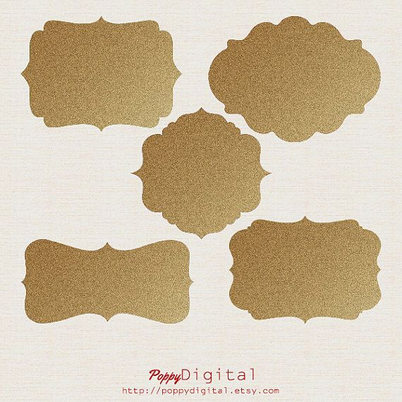 5 Golden Digital Frames Digital Labels Clipart - Instant Download {frames, labels, tags, clipart, clip art}