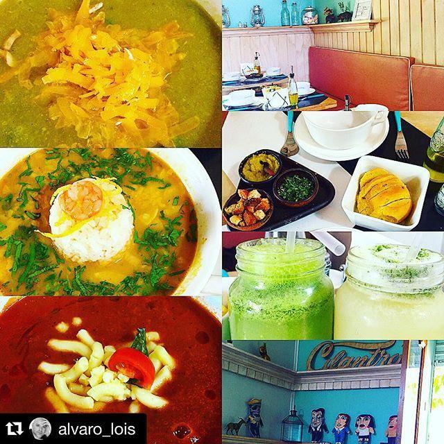 """""""Gracias por la buena onda!!! Te esperamos pronto de vuelta!!! #Repost @alvaro_lois with @repostapp. ・・・ Un lugar con 4 meses de vida y las cosas las hacen bien,eso es @cilantrosoperia crema de brocoli y queso, sopa Thai y crema de tomates y queso, jugos naturales y limonadas. #ÁlvaroLoisCocinero #PelaoLois #Cocina #almuerzo"""" Photo taken by @cilantrosoperia on Instagram, pinned via the InstaPin iOS App! http://www.instapinapp.com (12/09/2015)"""