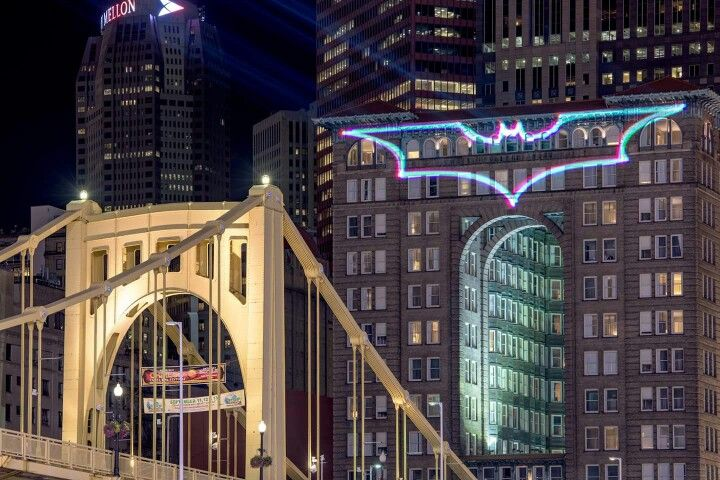 """During a Pittsburgh Pirates game this appeared on the Renaissance building  overlooking the stadium to recognize the return from injury of player, """"Batman"""" AJ Burnett!!! So cool!!!"""