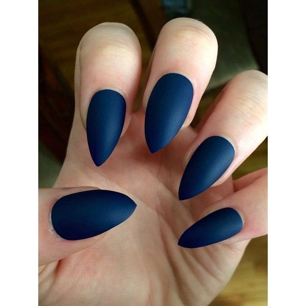 Matte nails, stiletto nails, navy blue, fake nails ❤ liked on Polyvore featuring beauty products, nail care and nails