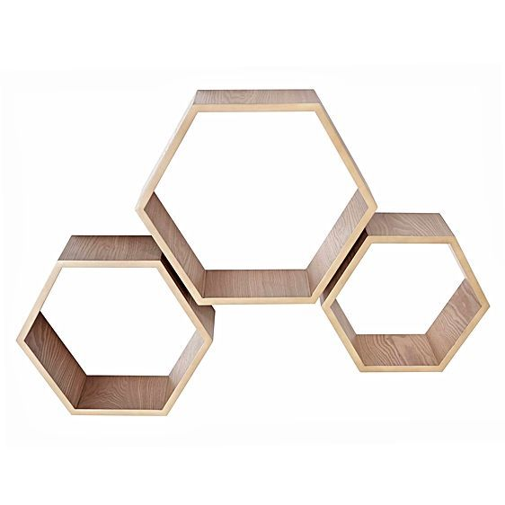 Refresh your living space with the stylish and functional Timber Hexagon Shelves from Amalfi.