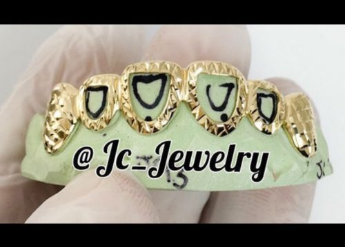 Grillz Dental Grills 152808: Custom 10K Gold Grillz 6 Top Or Bottom Open Face With Diamond Cuts BUY IT NOW ONLY: $230.0
