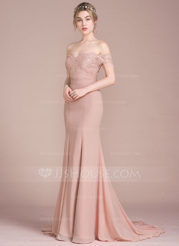 b3df778bb49d Trumpet/Mermaid Off-the-Shoulder Court Train Chiffon Lace Bridesmaid Dress  With Beading Sequins MOH dress