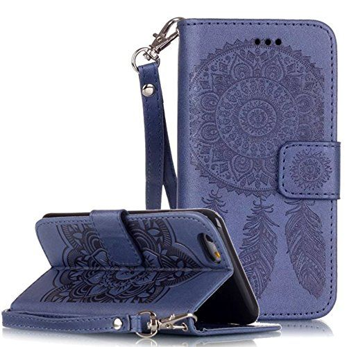 Apple Iphone 6 Plus Hülle Leder Flip Wallet Cover Case, Nnopbeclik Folio PU Leather Blume Case Drucken Campanula Diamant Bling Handytasche Schutz Kristall Glitzer Bookstyle Handyhülle Echt Strass Etui Muster Brieftasche Stoßdämpfend Tasche Schale mit Standfunktion Karteneinschub und Magnetverschluß Pour Apple Iphone 6 Plus 5.5 Zoll[Königsblau] - http://uhr.haus/nnopbeclik/koenigsblau-apple-iphone-6-plus-huelle-leder-flip