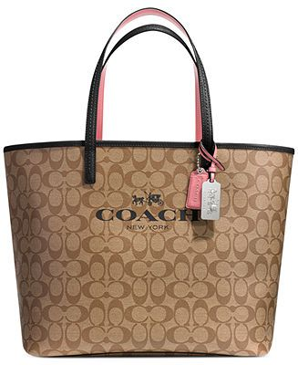 "COACH TOTE IN SIGNATURE C COATED CANVAS - COACH - Handbags & Accessories - Macy's  - KEH says ""I friggin love this""!"