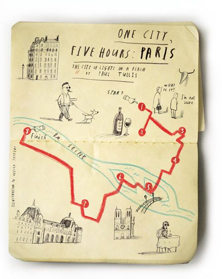 Oliver Jeffers' One city, Five Hours project - simple illustrations made to accompany the United Airlines magazine Hemispheres' One City, Five Hours series that gives a step to step guide to how to spend a five hour layover in a city. According to Oliver Jeffers, all of his maps are 'geographically accurate'. How could you represent 5 hours in one