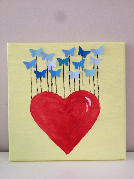Hand painted on canvas. 'Butterfly love'. Square by Natstuff, £5.00