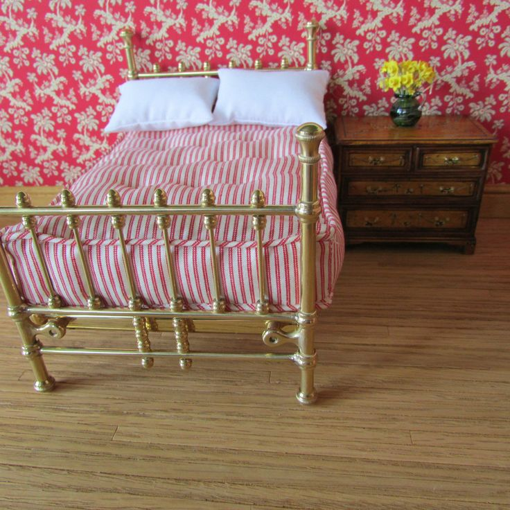 Dolls House Miniature Brass Double Bed with Mattress | eBay