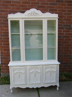 Cream and Seafoam Green China Hutch