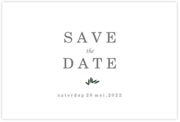 SAVE THE DATE KAART MET STIJLELEMENTEN EN KALLIGRAFIE