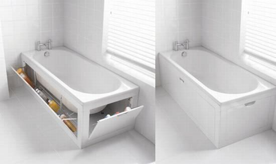 Clever built ins storage-The sides of the tub flip out with doors that hold all those necessary bath items. Z