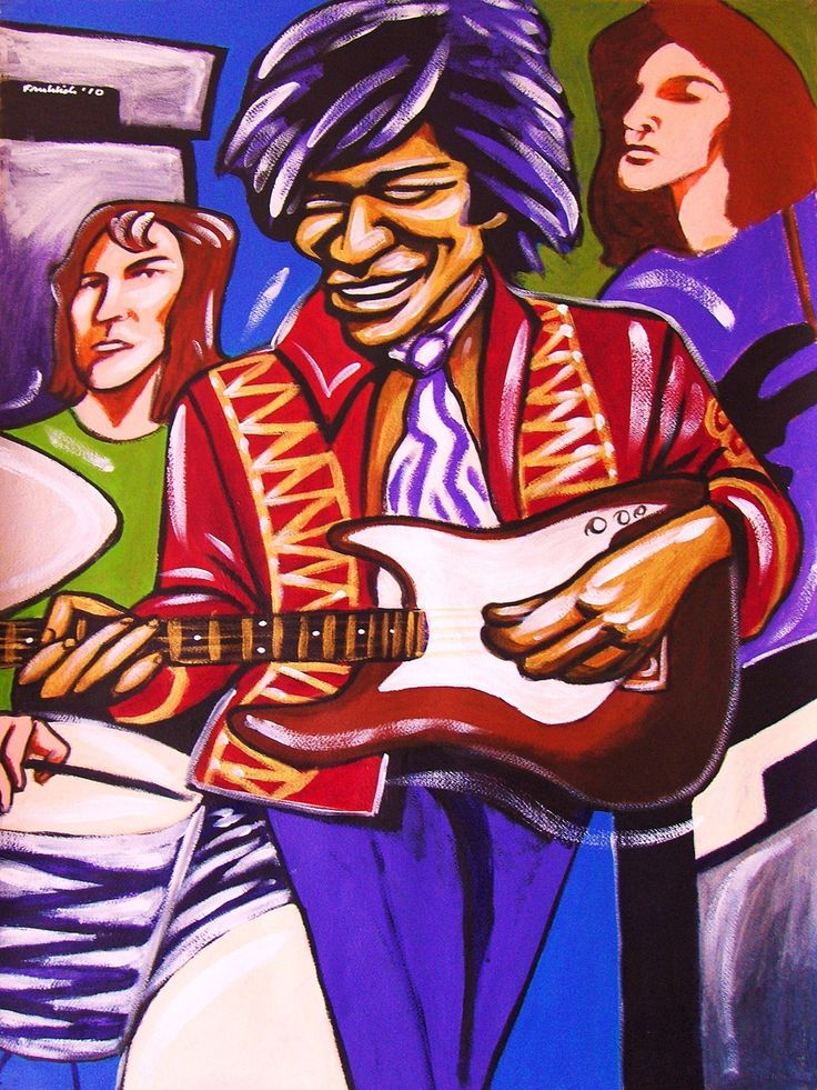 """JIMI HENDRIX PRINT POSTER guitar cd lp record album vinyl good karma fender stratocaster mitch mitchell bass noel redding axix bold as love. CHOOSE PRINT SIZES 9x12"""" ($70) or 18x24"""" ($130)-This quality giclee print is part of my extensive portfolio. I am the artist John Froehlich, aka FRO-ART-This is a """"READY TO FRAME"""" REPRODUCTION PRINT on quality gloss archival paper.-PRINT will be professionally packed and shipped in a sturdy mailing tube, via USPS Priority Mail.-My vibrant colored..."""