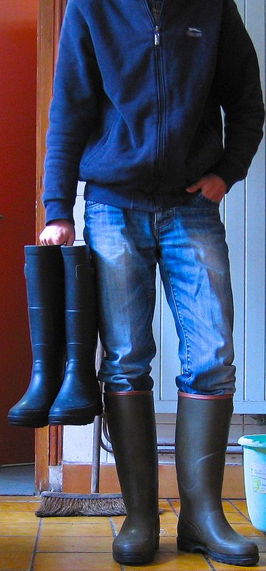 Decisions! Decisions! Which pair of wellies should I wear to mop the floor?