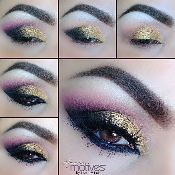"#elymarino gorgeous look! #motivescosmetics 1.Apply ""Gold Rush"" eyeshadow to the lid 2.Apply ""Onyx eyeshadow"" to the outer half of the lid! (To create the sharp edge I used Scotch tape) 3.Apply ""Ecstasy"" eyeshadow in the crease but keeping it darkest in the outer corner! To blend out even further I used ""Flirt"" Blush for a soft blend 4.Rim the entire eye with ""Little Black Dress gel liner 5. Add your lashes and your done"