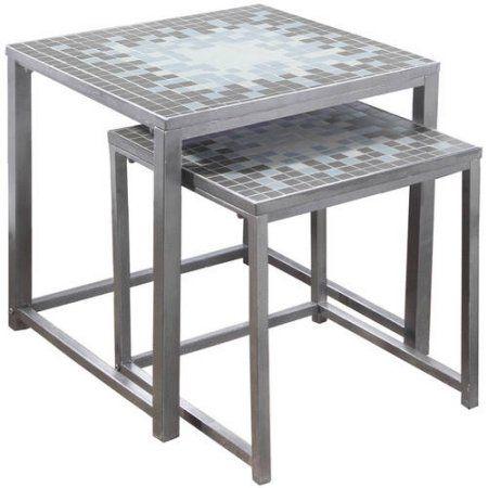 Home Nesting Tables Metal Nesting Tables Blue Tiles