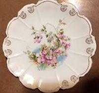 Antique H-P Victorian Porcelain Decorative PLATE Germany Floral Gilt Aesthetic