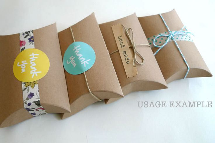 Kraft Pillow Boxes- Kraft Paper Gift Box 3 x 3.5 x 1 in- Set of 12 Blank. $3.50, via Etsy.