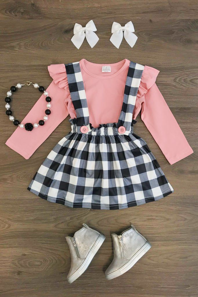 Toddler Kids Baby Girls Striped T shirt Tops Strap Suspender Skirts Outfits Set