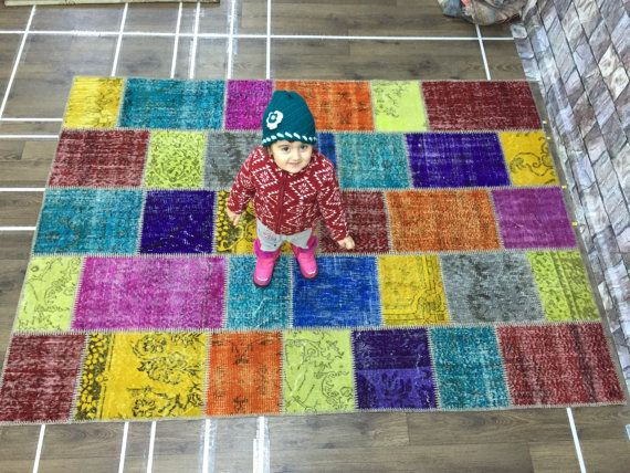 patchwork carpet multi color patcwork carpetwool on by laviaart