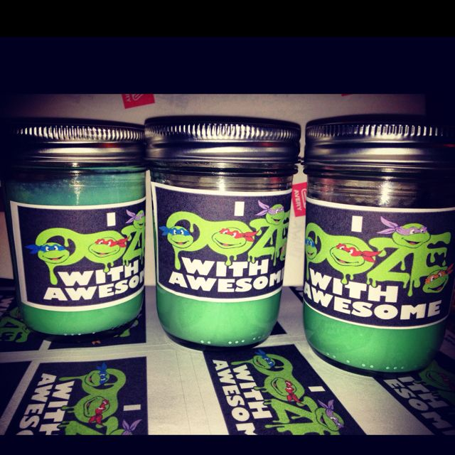 """""""Ninja Turtle Ooze Slime as Party Favors for boy's Birthday. (Slime made out of Borax Slime Recipe + Mason Jars and Sticker Labels) Kids Loved it!!!! Total cost $25 for 12"""""""