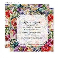Klasik Romantik Suluboya Düğün Davetiyesi Tasarım: ©  Dört Köşe Davetiye