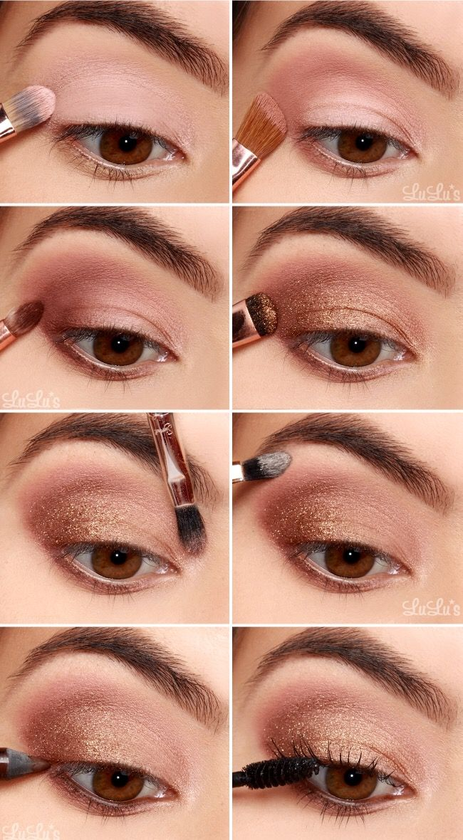1. Apply eyeshadow base all over the lid. 2. From the Sigma Warm Neutrals palette, sweep the Cinnamon eyeshadow across the middle section of the upper lid. 3. Add the Warm Stone to the outer corner, and below the lower lash line. 4. Add Bronze Loose Shimmer across the lower half of the upper lid. 5. Add Oyster Sand to the inner corner of the eye. 6. Apply the matte Sugar Milk just below the brow. 7. Use brown eyeliner on the waterline to add depth to the smokey eye. 8. Complete with mascara.