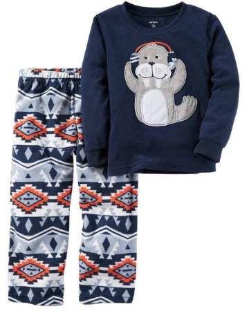 d03053593 Carter s Toddler Boys 2 Piece Navy Fleece Sleepwear Aztec Walrus ...