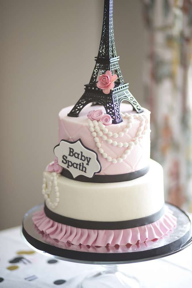 Gorgeous cake at a Paris baby shower party! See more party planning ideas at CatchMyParty.com!