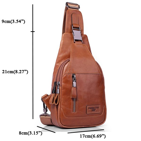 Men Genuine Leather Shoulder Bag Vintage Chest Bags Crossbody Bags is worth buying - NewChic Mobile version.