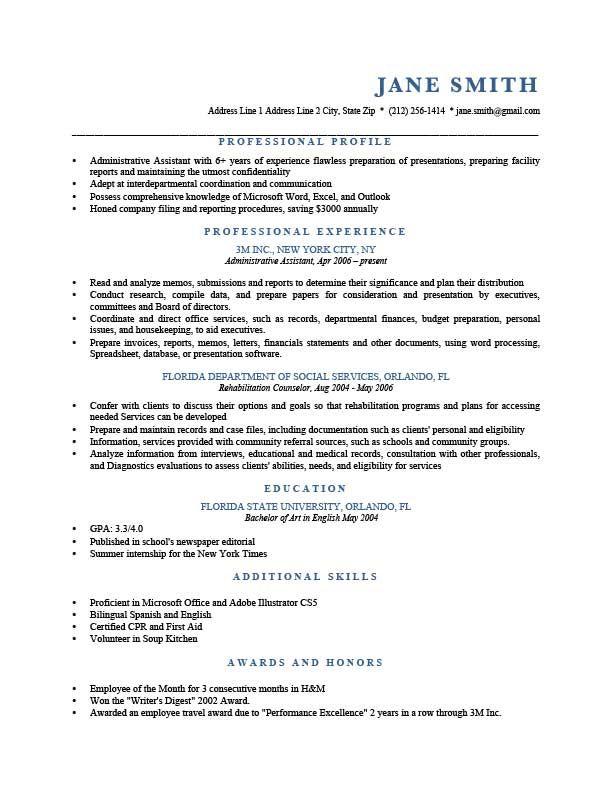 Resume Examples Profile Examples Profile Resume Resumeexamples Resume Profile Resume Examples Job Resume Examples