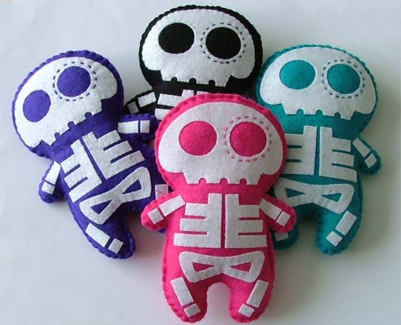 Halloween Skeleton Doll Felt Plush. $18.00, via Etsy.