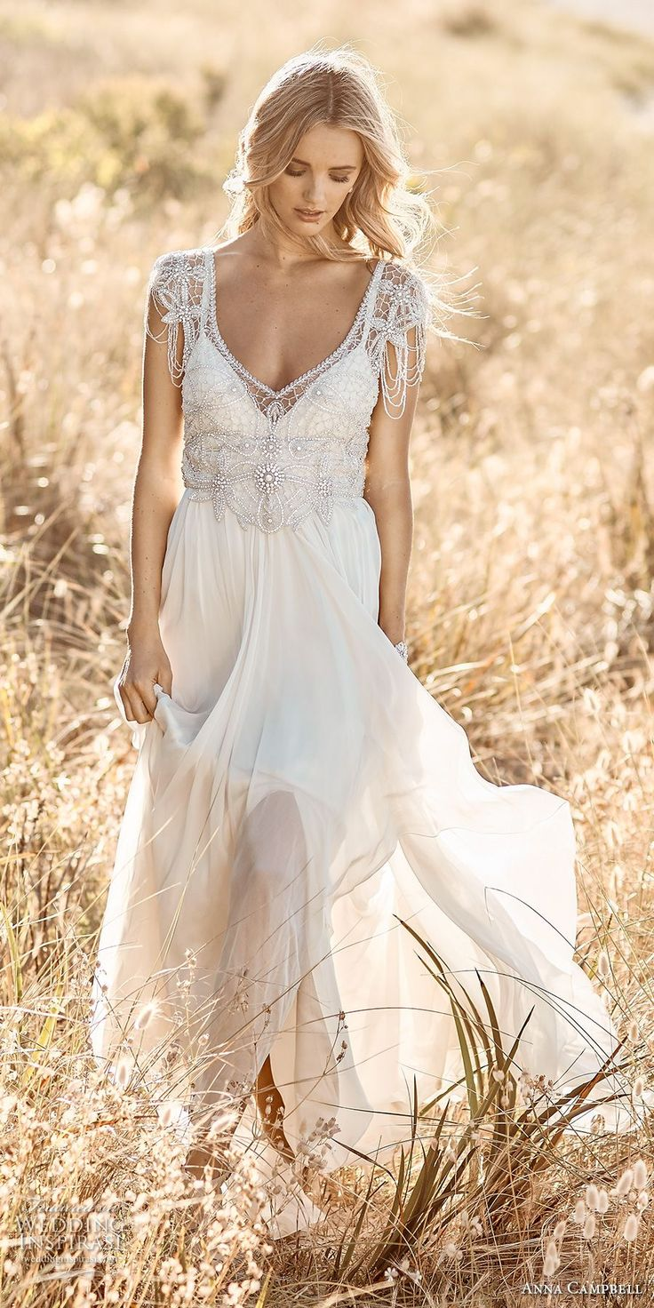 Anna Campbell | Grace Gown | Featuring delicate hand-beaded shoulder detailing, an elegant low back and a shimmering silver hand-embellishment, the vintage-inspired Grace epitomizes whimsical and glamorous Anna Campbell!