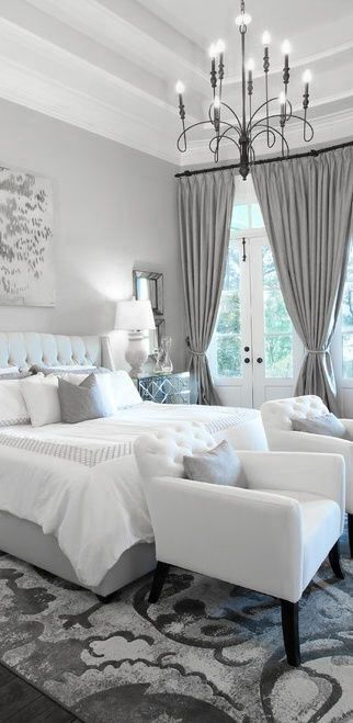 Master, bedroom, windows, blankets, comforter. Pillows, glam, modern, chic