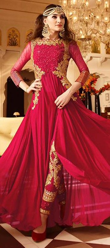 475452 Red and Maroon color family Party Wear Salwar Kameez in Faux Georgette fabric with Machine Embroidery,Stone,Thread work .