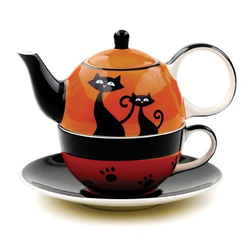 Halloween Cattitude Tea for One, Teapot and Mug set