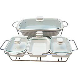 Le Chef White Ceramic Bakeware/ Serving Tray Set | Overstock.com Shopping - Great Deals on Le Chef Ceramic Bakeware