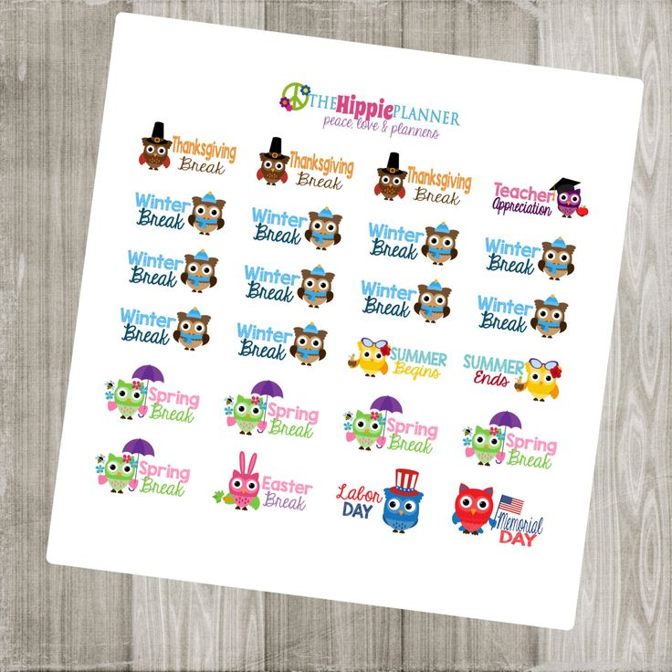 School Holiday Stickers | Back To Class | Erin Condren Life Planners, Plum Paper, Filofax, Scrapbooking, Calendars